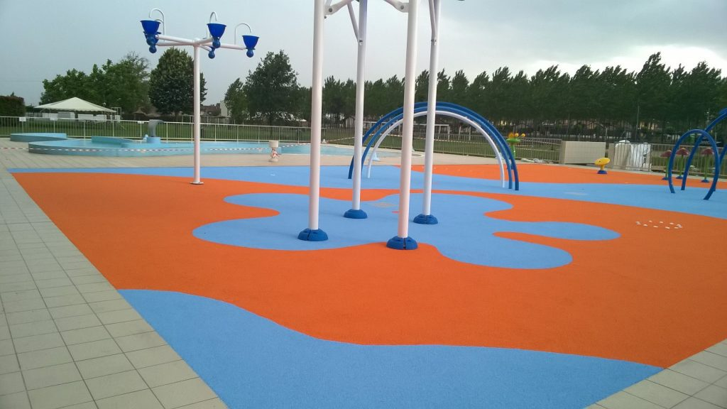 Wetpour rubber for water parks